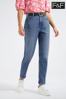 F&F Indigo Mom Rip Belted Jeans