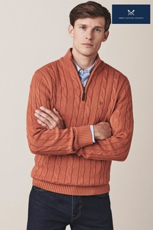 Crew Clothing Company Orange Regatta Half Zip Jumper