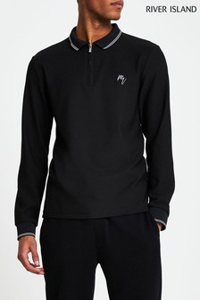 River Island Black Slim Tipped Maison Polo