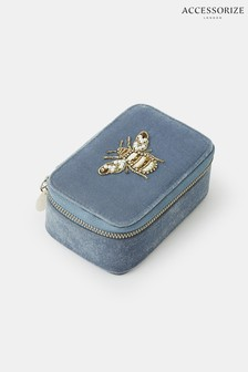 Accessorize Blue Bee Embroidered Jewellery Box