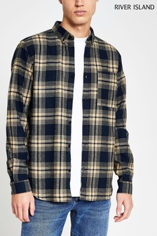 River Island Navy Reg Stone Graphic Check Shirt