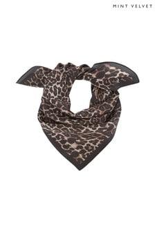 Mint Velvet Leopard Print Silk Scarf