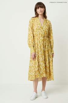 French Connection Yellow Bruna Light Midi Shirt Dress