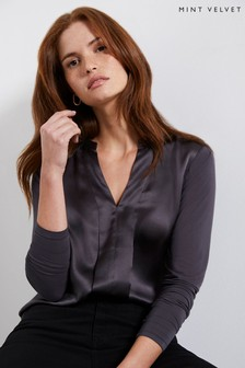Mint Velvet Grey Silk Satin Front Top