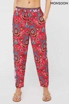 Monsoon Pink Tamalia Print Sustainable Trousers