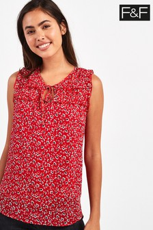 F&F Red Ditsy Blouse