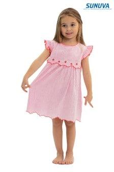 Sunuva Girls Pink Strawberry Crush Handkerchief Dress