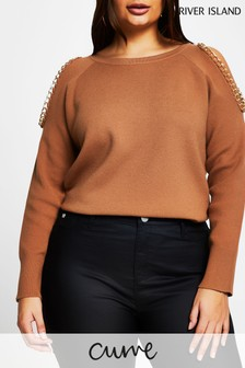 River Island Plus Brown Chain Cold Shoulder Jumper