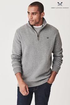 Crew Clothing Grey Classic Half Zip Sweatshirt