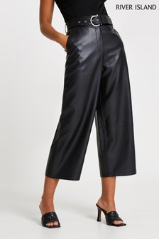 River Island Black PU Belted Wide Leg Culottes