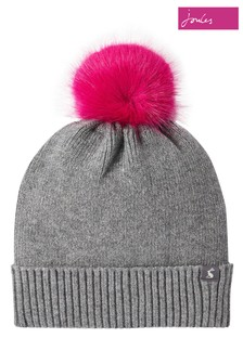 Joules Snowday Plain Knit Beanie With Pom