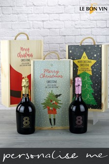Personalised Prosecco Duo Wooden Gift Box by Le Bon Vin