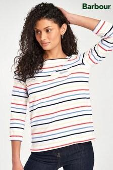 חולצת פסים של Barbour® Coastal דגם Seaview בלבן