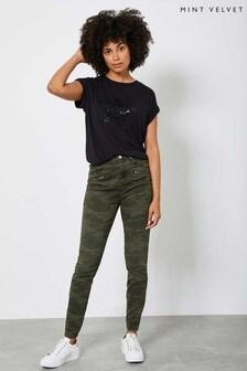 Mint Velvet Green Jackson Khaki Camo Skinny Jeans