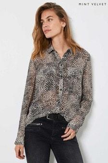 Mint Velvet Brown Lottie Animal Print Shirt