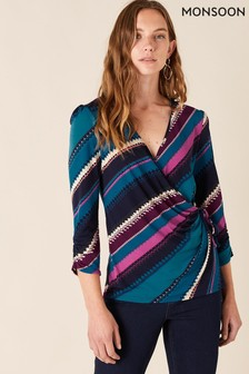 Monsoon Stripe Print Wrap Smart Shirt