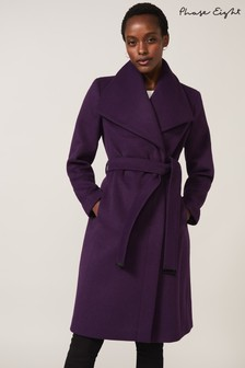 Phase Eight Purple Nicci Belted Wool Coat