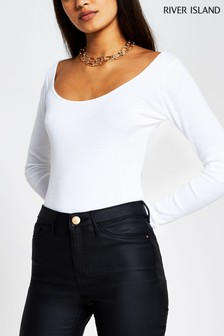 River Island White Wide Scoop Neck T-Shirt