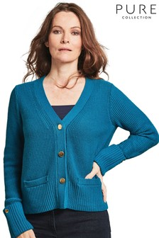 Pure Collection Teal Wool Cotton Gold Button Cardigan