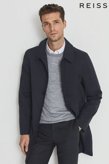 Reiss Navy Perrin Mac With Removable Zip Neck Insert