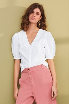 Embroidered Collar Short Sleeve Shirt