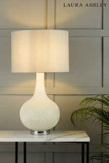Laura Ashley White Grace Painted Patterned Glass Table Lamp