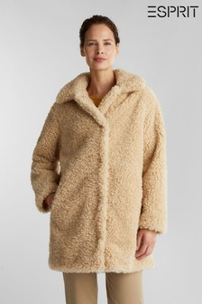 Esprit Cream Faux Fur Coat