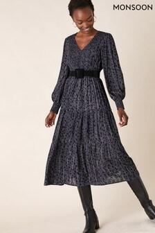 Monsoon Grey Animal Shirring Midi Dress