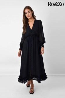 Ro&Zo Black Gathered Frill Midi Dress
