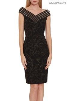 Gina Bacconi Black Ellerie Metallic Crepe Dress