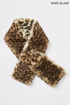 River Island Brown Print Leopard Faux Fur Wrap Scarf