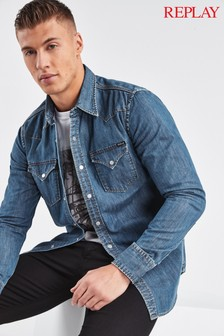 Replay® Mid Blue Western Denim Shirt