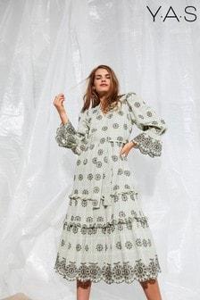 Y.A.S Khaki Printed Fabia Boho Dress
