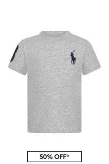 Ralph Lauren Kids Baby Boys Grey Cotton T-Shirt