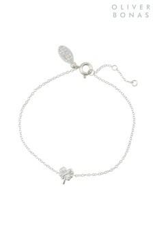 Oliver Bonas Sterling Silver Four Leaf Clover Charm Bracelet