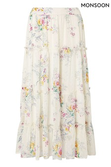 Monsoon Cream Blossom Print Tiered Midi Skirt