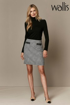 Wallis Black Monochrome Dogtooth Button Detail A-Line Skirt