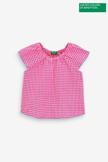 Benetton Gingham Checked Top