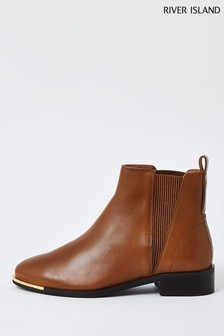 River Island Light Brown Metal Toe Leather Chelsea Boots