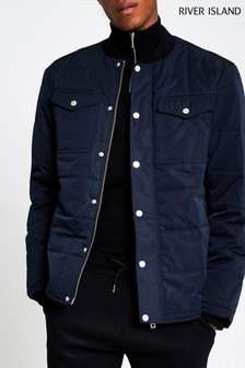 River Island Navy Bomber Padded Jacket