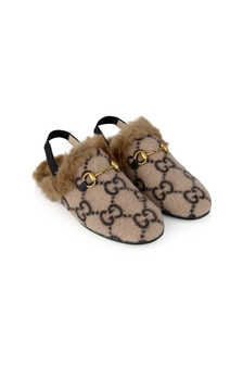 Kids Beige GG Wool Princetwon Slippers With Faux Fur