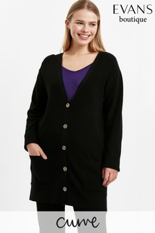 Evans Curve Black Button Through Cardigan