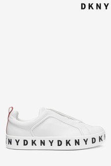 DKNY Platform Logo Leather Bashi Trainers
