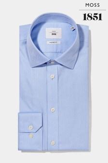 Moss 1851 Blue Tailored Single Cuff Herringbone Iron Shirt