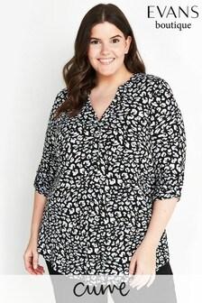 Evans Curve Monochrome Animal Print Jersey Shirt