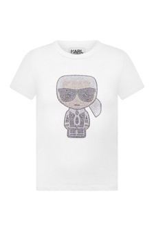 Girls White Jersey Karl Logo T-Shirt