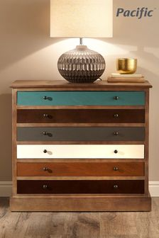 Pacific Lifestyle Pine Wood Multicoloured 6 Drawer Unit