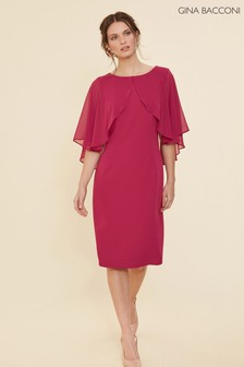 Gina Bacconi Red Otelia Crepe And Chiffon Cape Dress