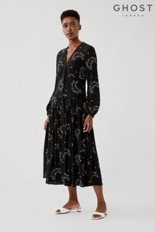 Ghost Lotte Starlight Print Crepe  Georgette Dress