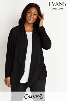 Evans Curve Black Waterfall Crepe Jacket